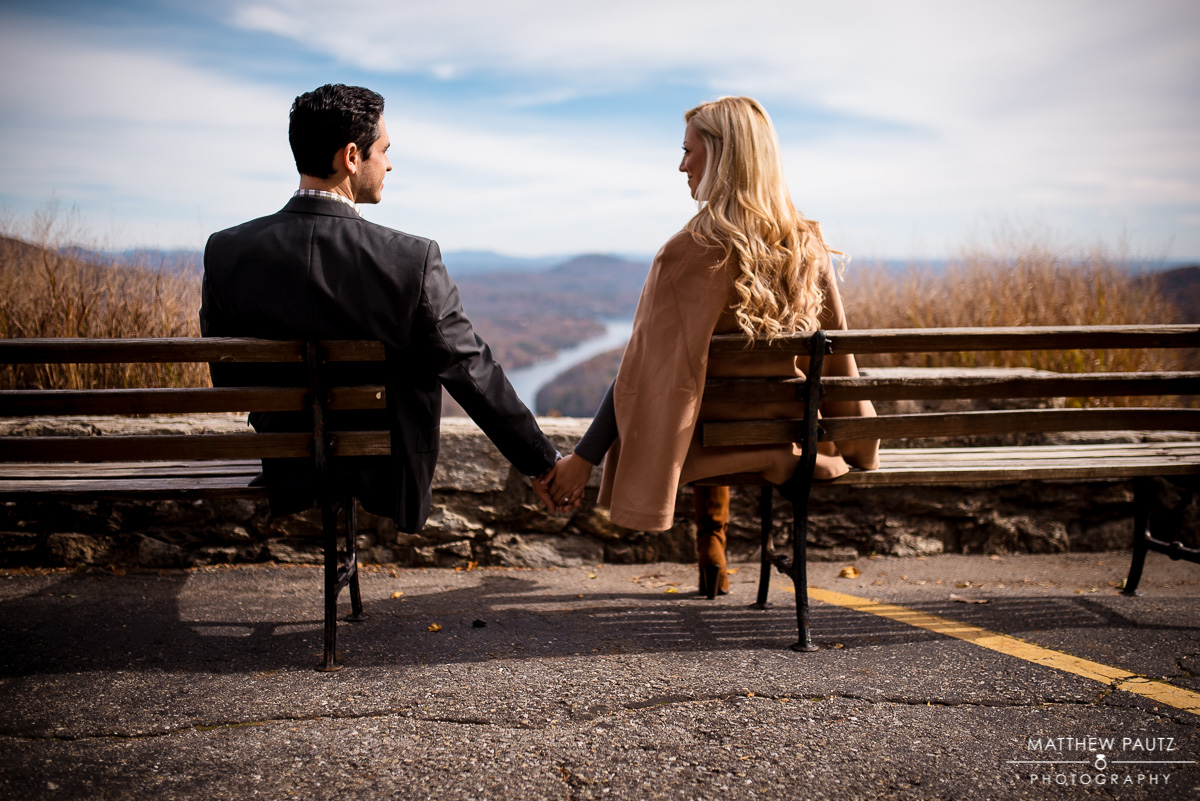 Mountain Engagement Photos at Chimney Rock State Park, NC