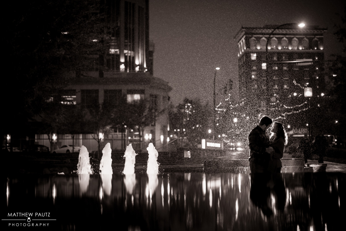 Rainy Day Engagement Photos - Downtown Greenville
